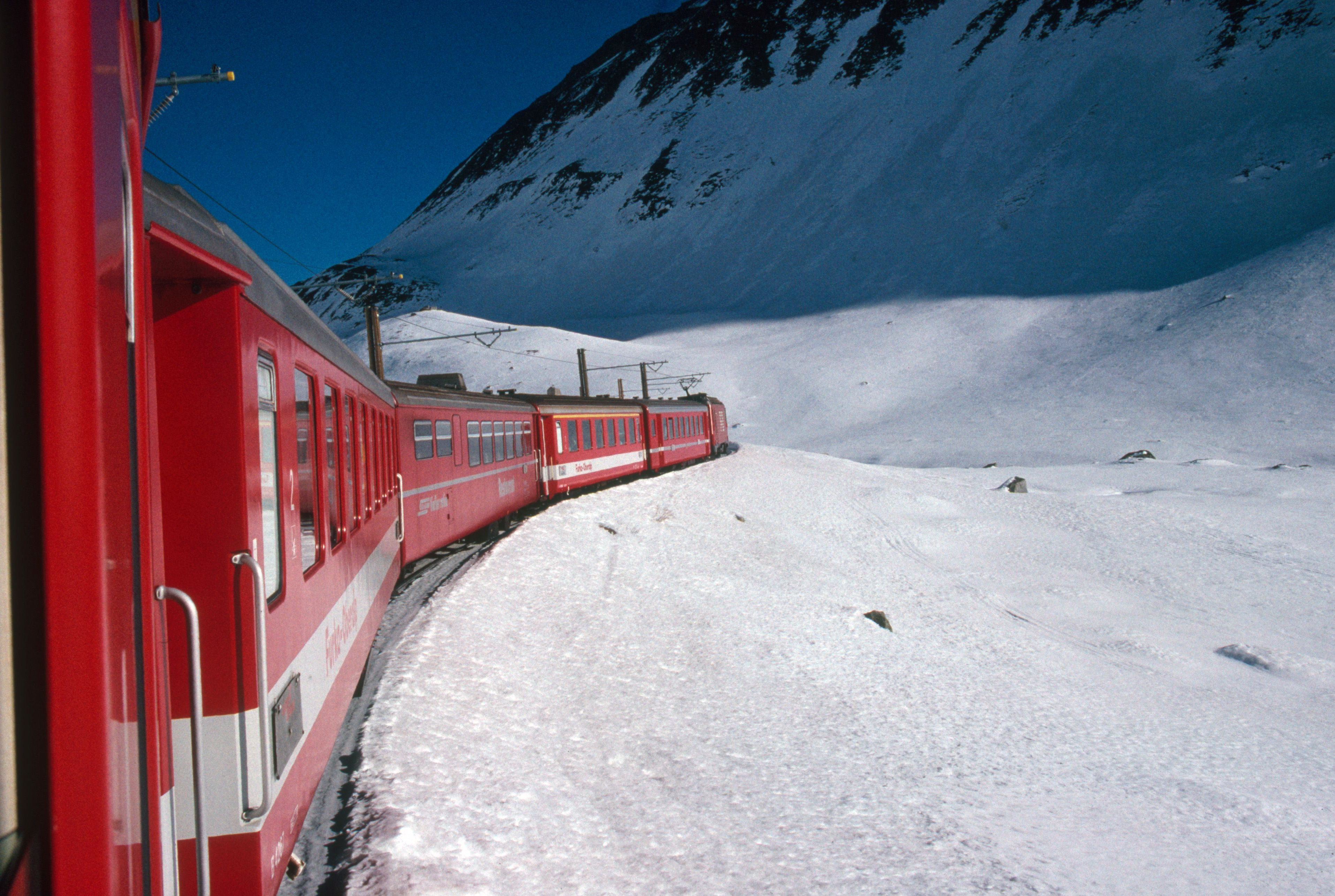 The Glacier Express travels from Zermatt to St. Moritz, in Switzerland.