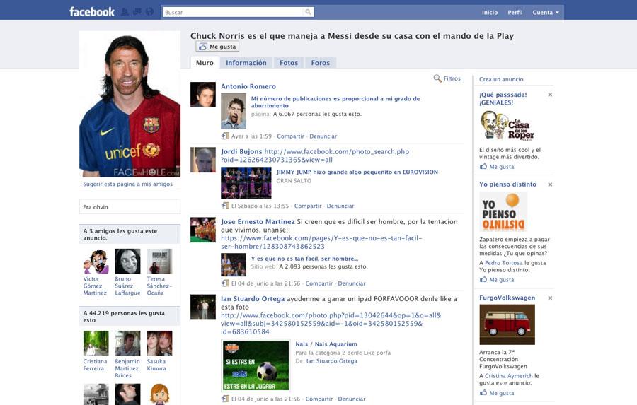 Chuck Norris en Facebook
