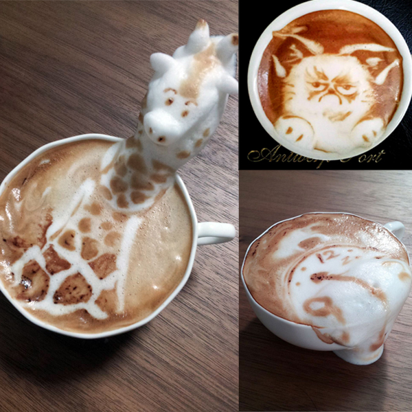 Figuras animales hechas de espuma de café
