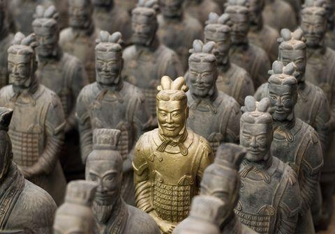Un ejército de terracota en miniatura encontrado en una tumba china