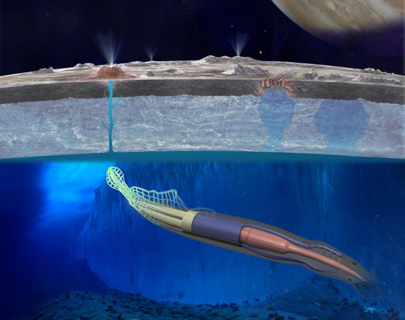 Un calamar robot para explorar océanos espaciales