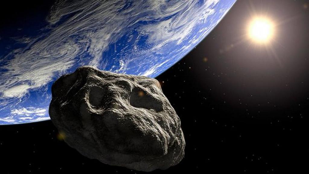 Un meteorito sobrevolando un volcán en erupción