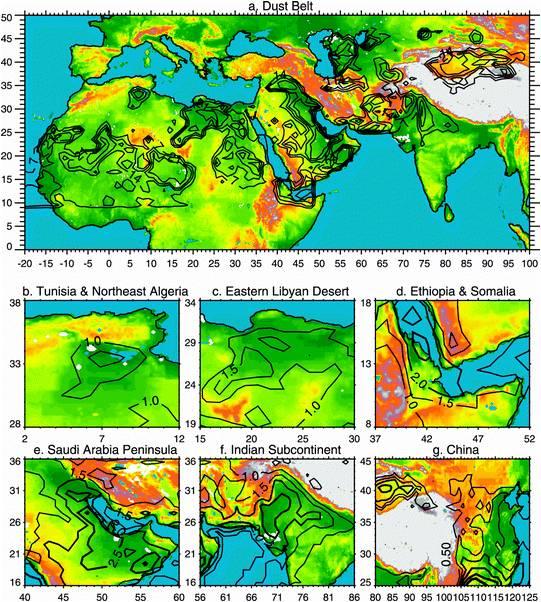 Mapa de concentraciones de polvo